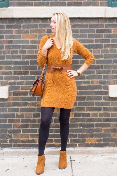 orange mockasko stövlar med matchande stickad tröja klänning