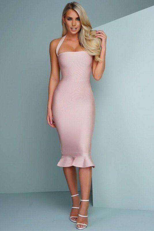 rosa bandage klänning midi ruffle