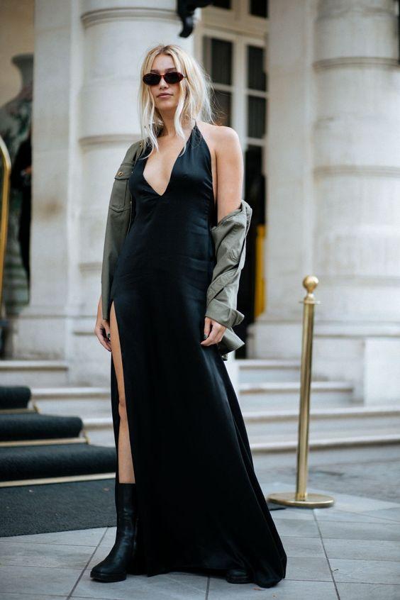 svart satin klänning retro