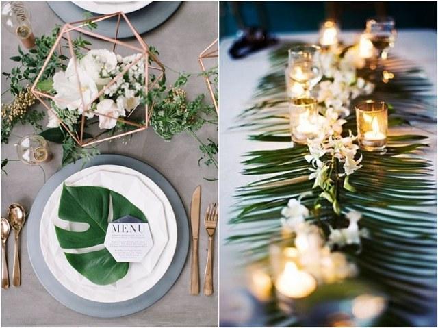 Trend 2020: Idéer för bröllopsdekorationer med tropiskt blad |  Hjort.