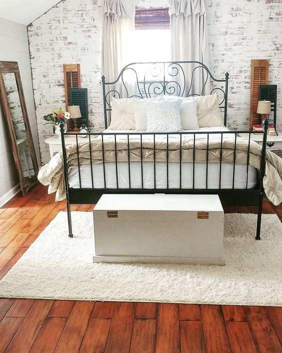 Endast möbler: Underbart Faux tegelvägg sovrum 75 imponerande.
