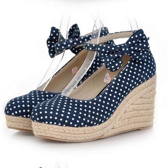 Mode Polka Dot Canvas Wedge Shoes för kvinnor Sweet Bow Straw.
