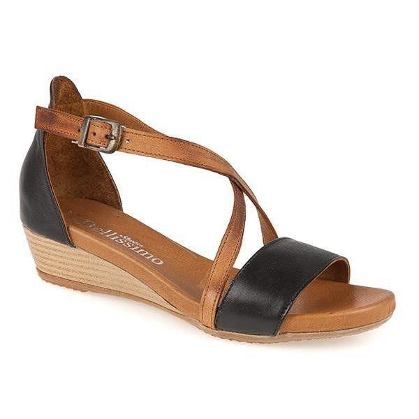 Ladies Low Wedge Leather sandal (STZYN2100) av Bellissimo @ Pavers.
