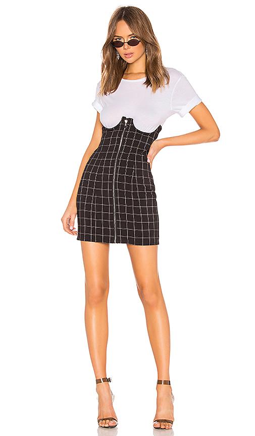 h: vår Lillian Mini-kjol med hög midja i svart och vitt |  REVOLERA