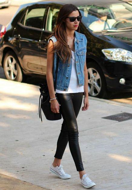 lång t-shirt jeansväst i läder