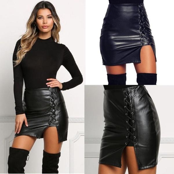 Sexig svart snörning PU läder kjolar Springn Womens sidoslits.