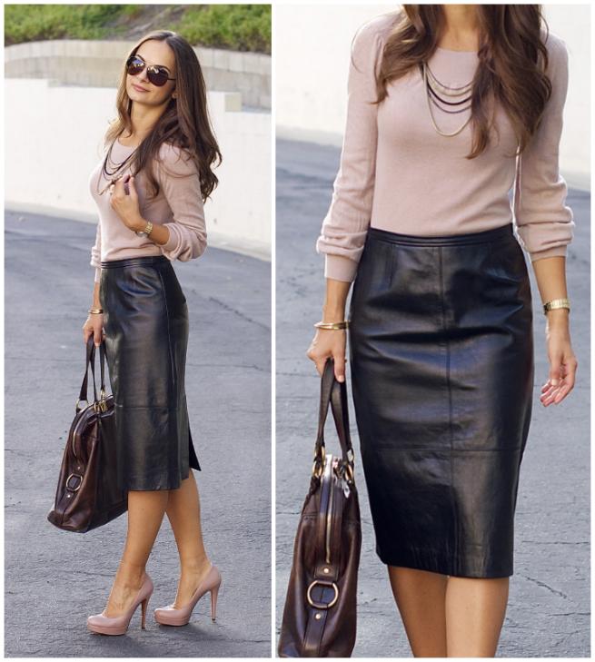 Läder kjol du kan bära på jobbet - praktiskt taget mode  Svart.