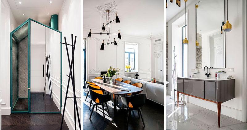 Denna lägenhet kombinerar gammalt och nytt inuti en 1800-talsbyggnad
