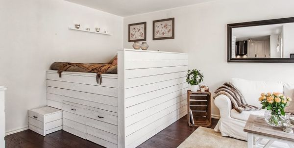 Liten lägenhet med en perfekt planerad inredning |  Vardagsrum .
