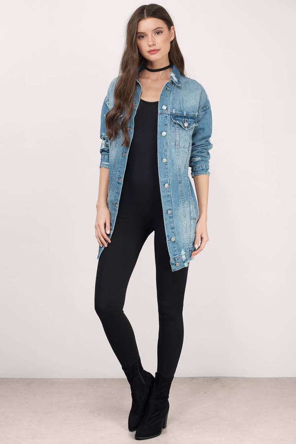 Longline denimjacka svarta skinny jeans