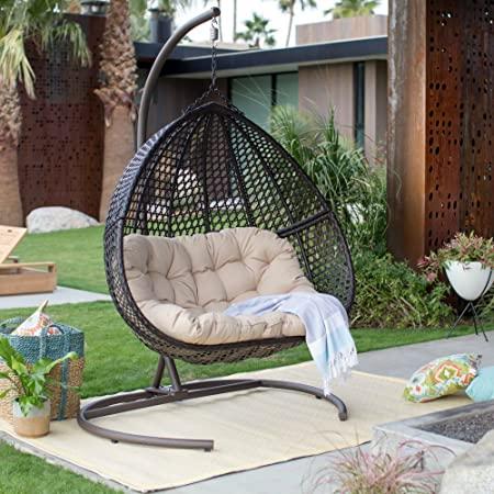 Amazon.com: Resin Wicker Hanging Egg Loveseat Swing Chair, inomhus.