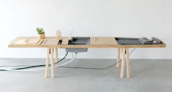 Minimalistisk köksarbetsstation med allt nödvändigt inbyggt.