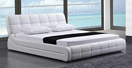 Amazon.com: Greatime B2404 Modern samtida säng, drottning, vit.