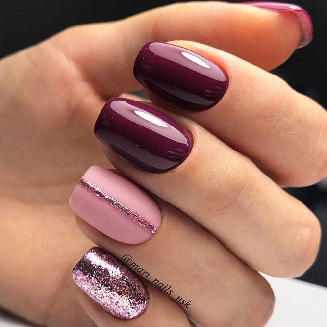 65+ måste försöka falla nageldesigner och idéer |  Enkla naglar, lila.