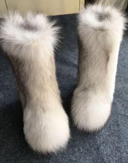 Kvinnor Plushed Luxury Eskimo White Fox Fur Boots Long Bootleg.