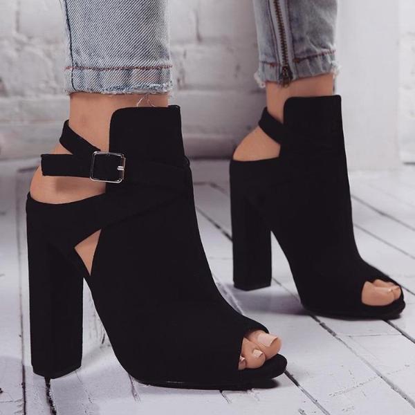 Block Heel Peep Toe Ankle Boots #shoeboots Ankle Strap Peep Toe.