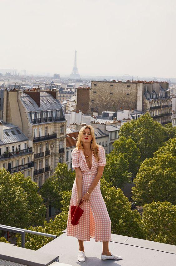 rosa sommarklänning parisisk chic