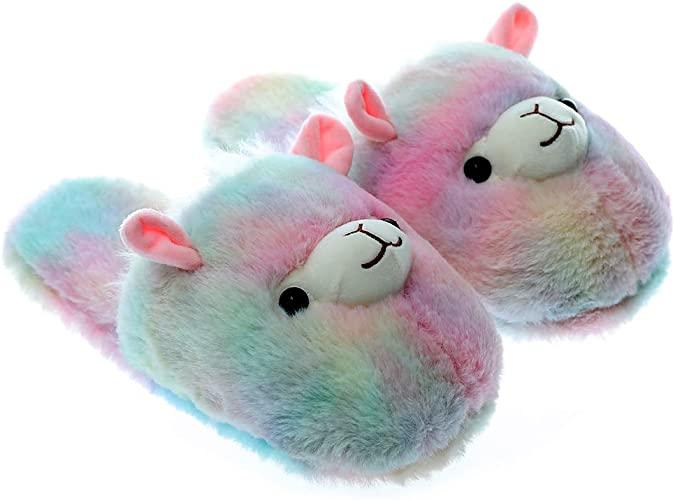 Amazon.com |  Söta stoppade djur Rainbow Unicorn plysch tofflor.