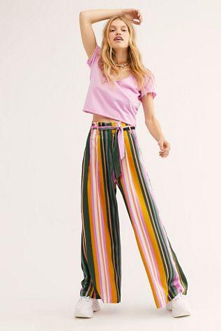 Pandora Byxor |  Mode, Stripe pants outfit, Flowy pan