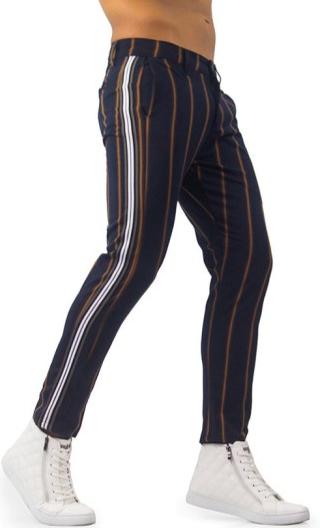 Marinblå vertikala randiga byxor med sidoränder |  Mens byxor mode.