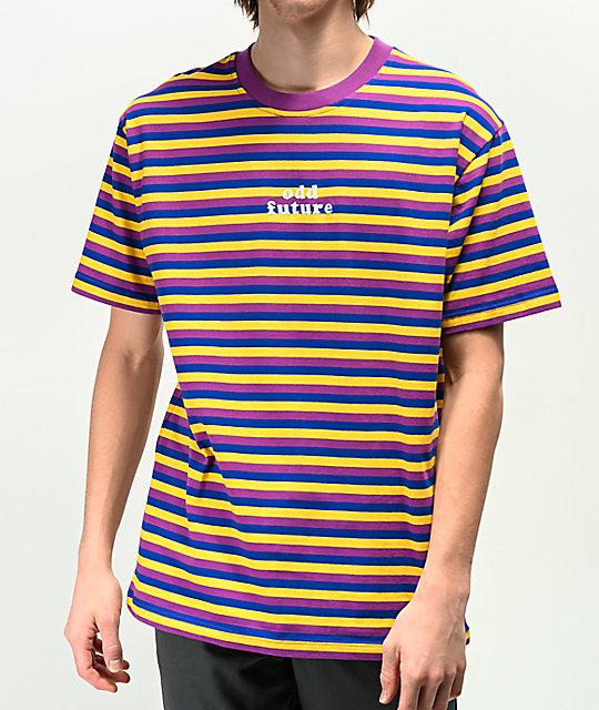 Udda framtida lila, blå & gul randig T-shirt |  Zumi