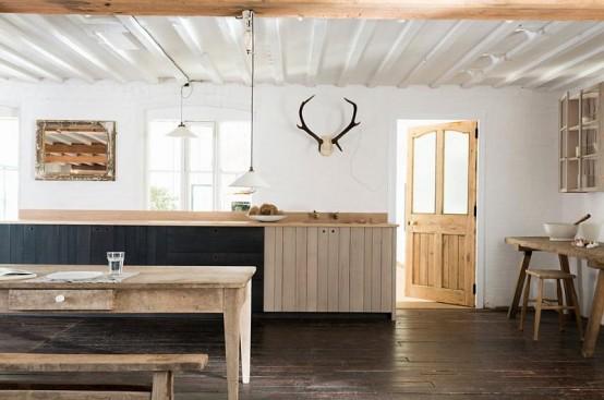 Rustikt kök med omfattande användning av grovt trä - DigsDi