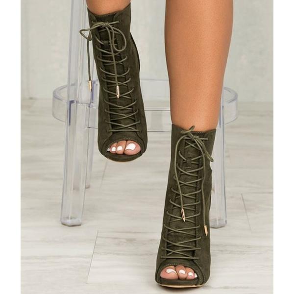 Kvinnors nya mode Peep Toe armégröna sandaler stövlar Casual kvinna.