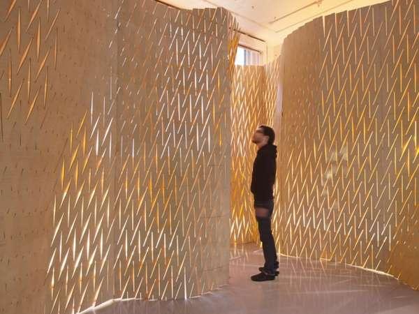 Slitsliknande skulpturella partitioner: expanderbar yta wa