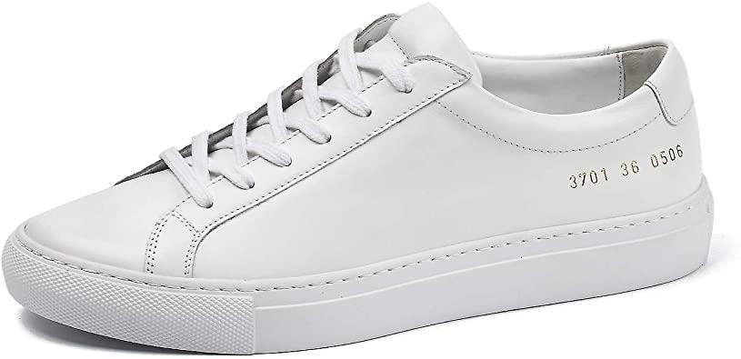 Amazon.com    DONNAIN Sneakers i äkta läder för kvinnor, snörning.