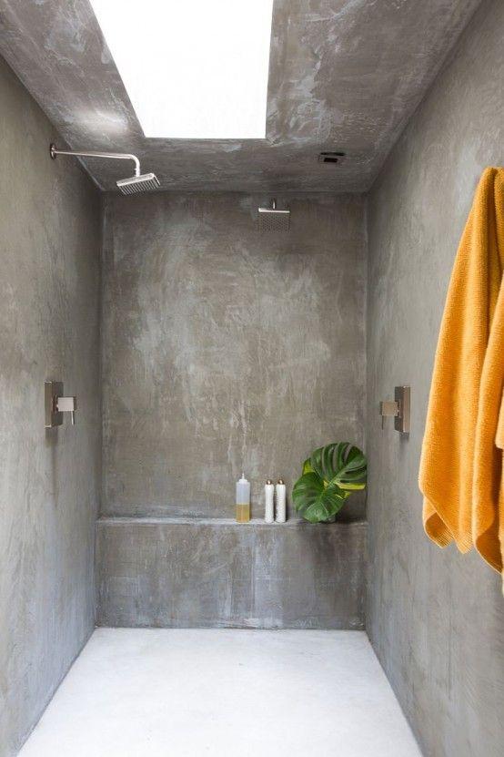 37 snygga sätt att använda betong i ditt badrum |  Ниша в душевой.
