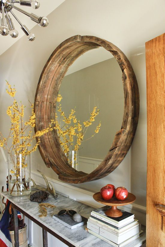 dekoration av naturliga element, träram |  Spegelram DIY, dekor.