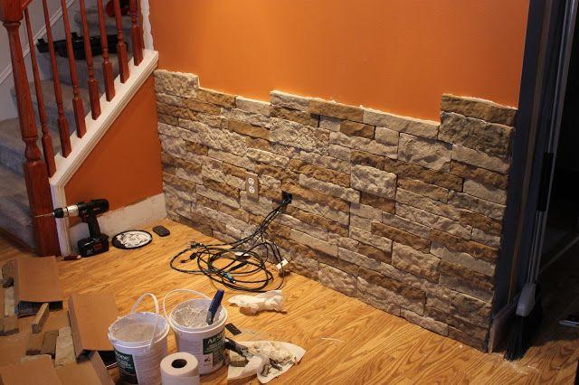 DIY sten accent vägg.  Skulle vara coolt i källaren.  Och jag gillar .