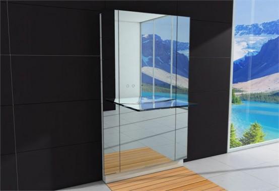 Stor badrumsspegel med integrerad glashandfat - Water Lounge.