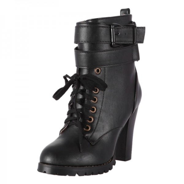 Köp Plus size 43 Winter Round Toe Warm Ankle Boots Lace Up Martin.