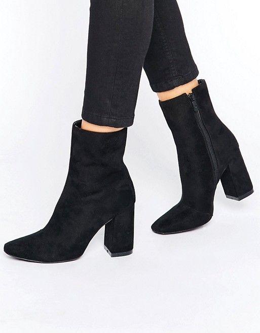 Boohoo |  Boohoo High Ankel Block Heeled Boot |  Kvinnors stövletter.