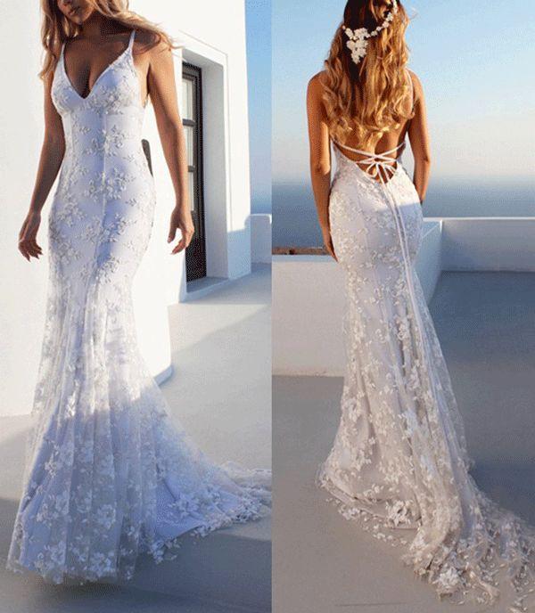 Sjöjungfru spagettiband spets strand bröllopsklänning |  Billig strand.