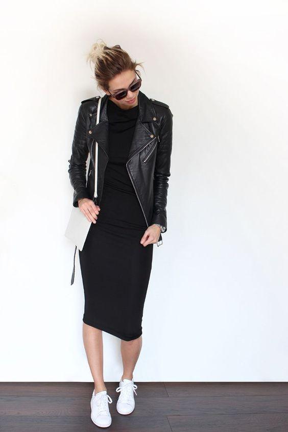 klassisk svart bodycon-klänning