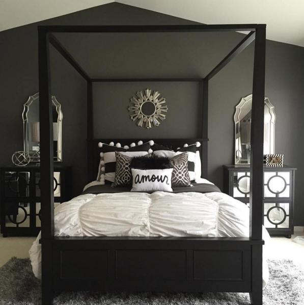 Fantastisk djärv svart, vit och grå sovrumsdesign med enkel.
