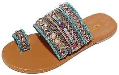 Amazon.com: Platta sandaler för kvinnor sommar, SIN + MON Boho Flip för kvinnor.