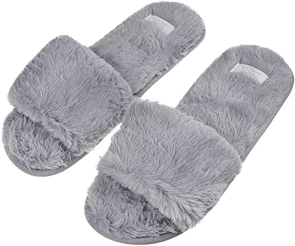 Amazon.com |  Mode inomhus varm fleece Slide On tofflor, kvinnor.