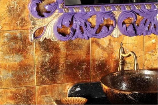 Tvättställ för badrum med guldfinish - Artemide av GB NUove Linee.