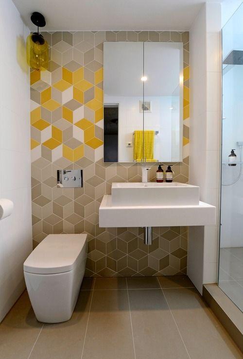 28 underbara moderna geometriska inredningsidéer för badrum - DigsDi