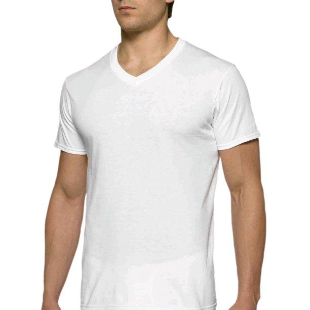 Gildan - Gildan kortärmad herr V-ringad vit T-shirt upp till 2XL.
