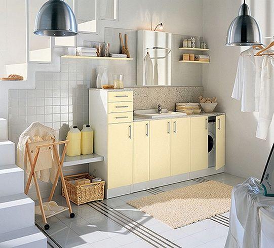 Vita och färgade tvättstuga design av Idea Group |  Modernt.