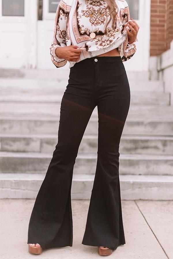 Black Bell Bottoms Outfit Idéer