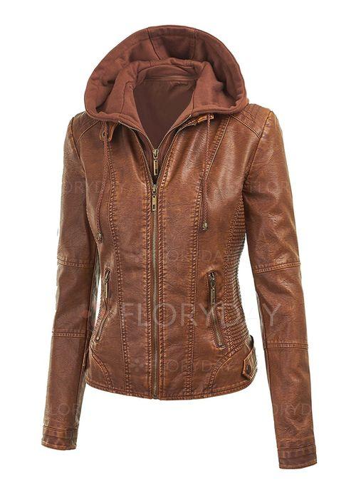 Brun läderjacka kläder för kvinnor
