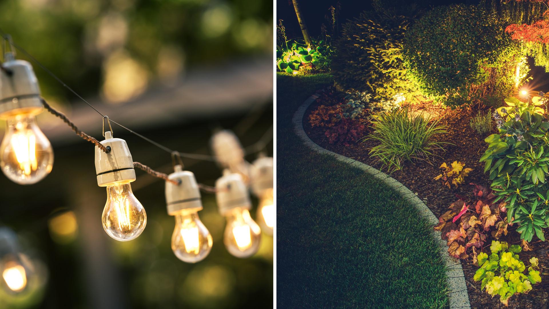 Charmig trädgård och poolbelysning med bild