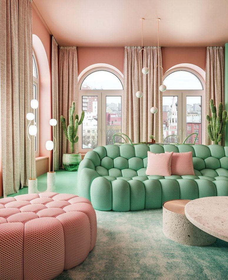 Crazy Pastel Pink Green Apartment