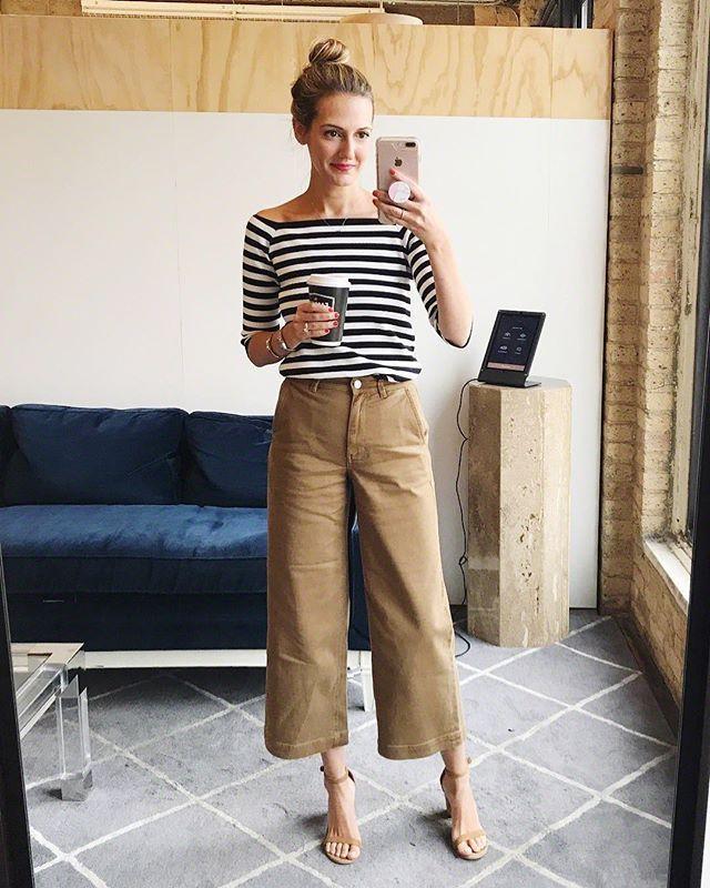 Cropped Wide Leg Pants Outfit Idéer