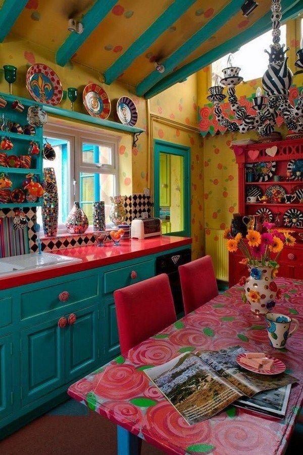 Färgglada Boho Chic Kitchen Designs